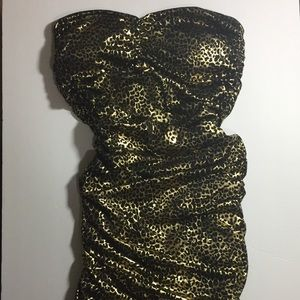 Strapless cheetah print dress EUC